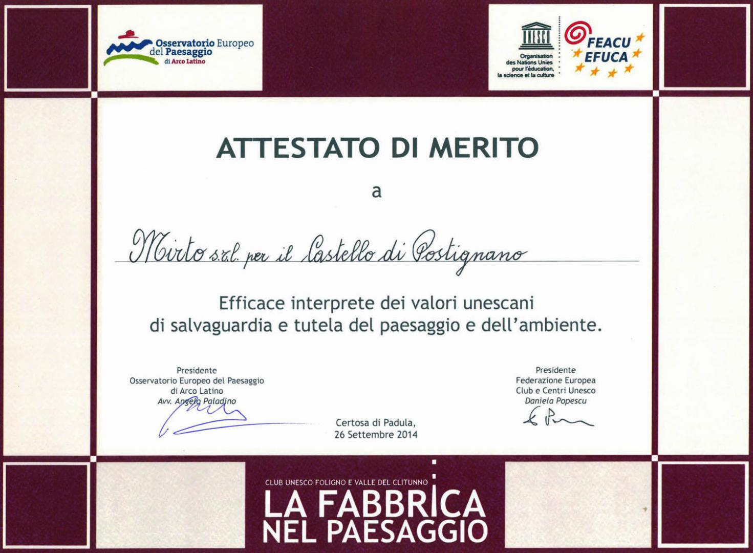 Certificate of Merit from the Italian and European Federations of UNESCO Clubs and Centres